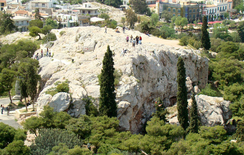 Areopagus_hill as viewed from the Acropolis,Athens - copyright Wikipedia